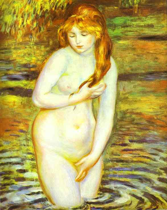 Oil painting:The Bather (After the Bath). 1888