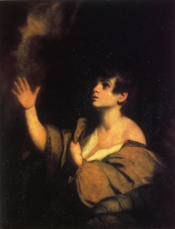 Oil painting:The Calling of Samuel. Oil on canvas. 90.2 x 69.2 cm. c 1776