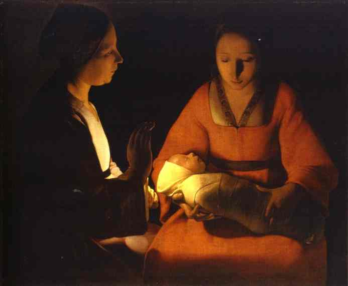 Oil painting:The Newborn. c. 1645