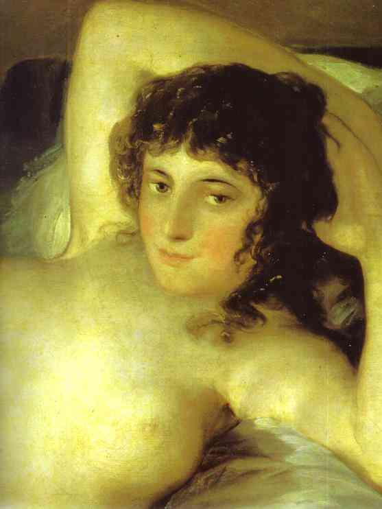 Oil painting:The Nude Maja (La Maja Desnuda). Detail. c. 1799