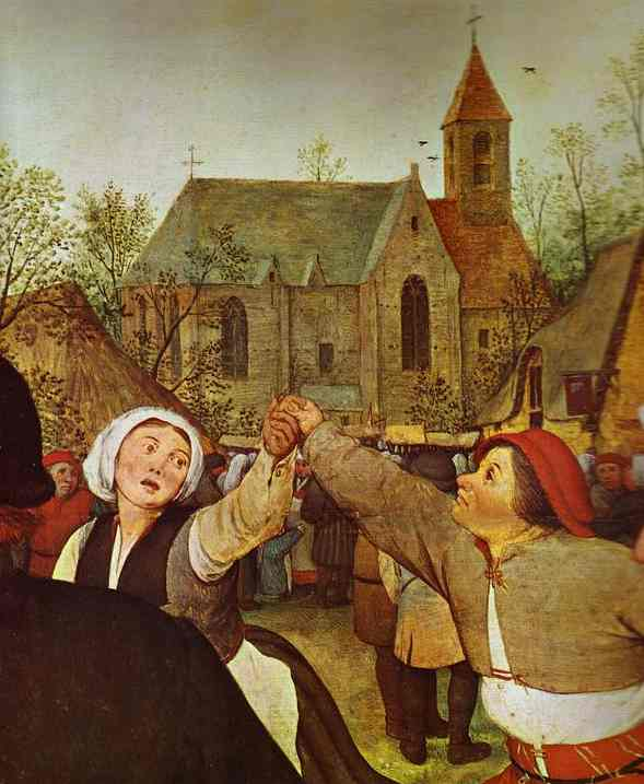 Oil painting:The Peasant Dance. Detail. 1567