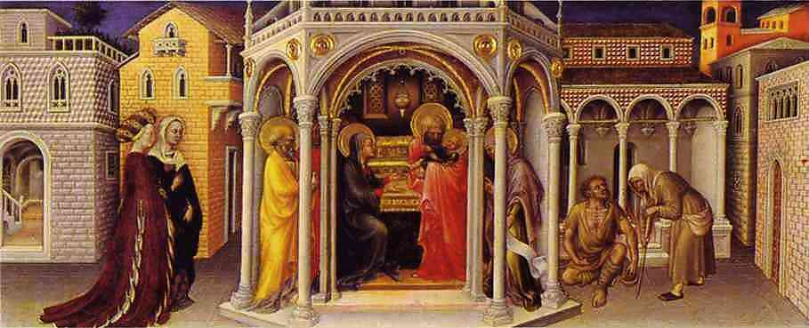 Oil painting:The Presentation at the Temple. From the predella of the alterpiece in the Strozzi