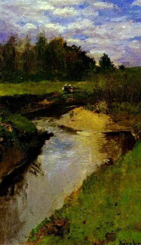 Oil painting: The River Vorya at Abramtsevo. 1880