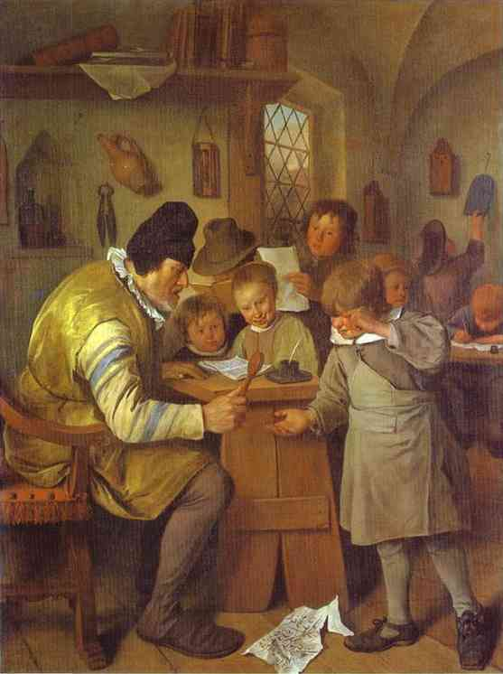 Oil painting:The Village School. c. 1665