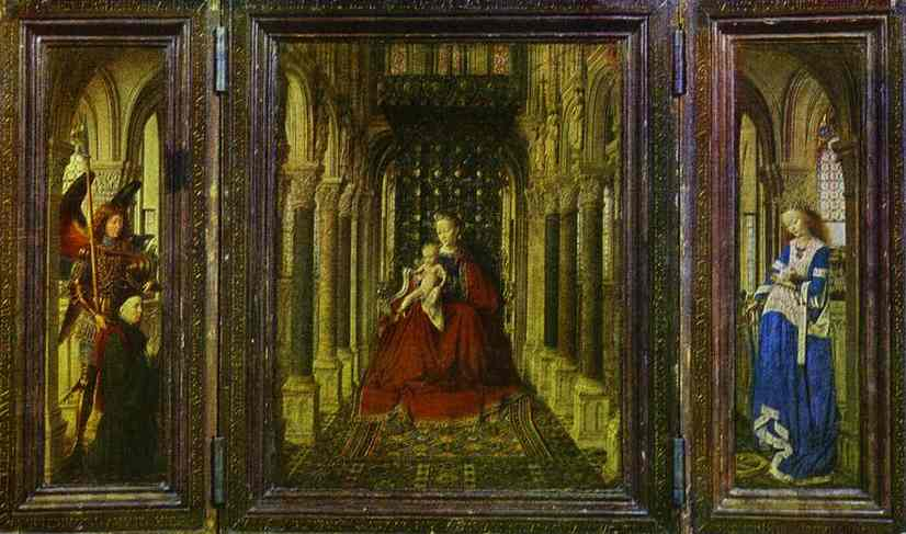 Oil painting:The Virgin and Child in a Church (a portable altar). 1437