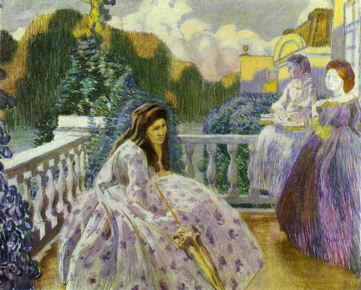 Oil painting:Three Ladies on the Terrace. 1903
