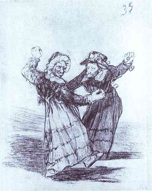 Oil painting:Two Dancing Old Friends. 1824-1828