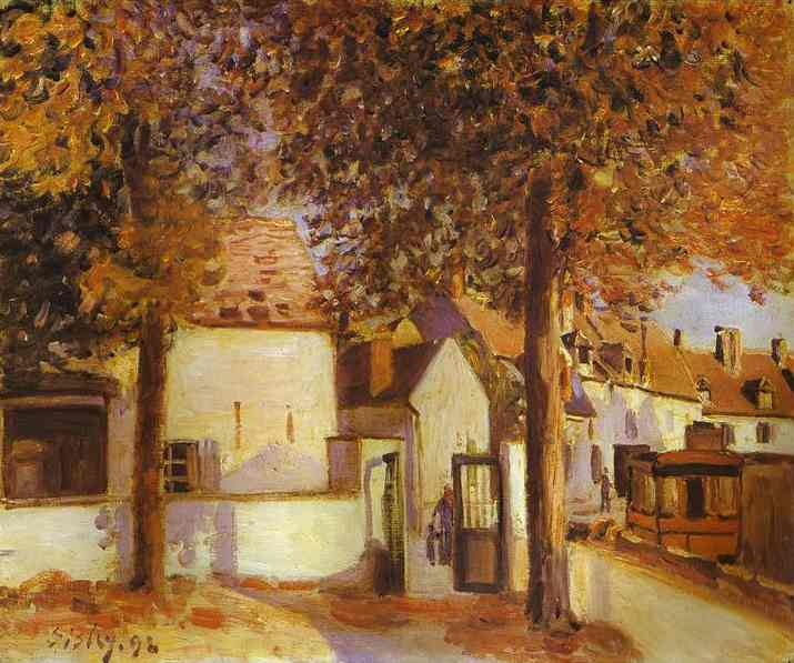 Oil painting:View in Moret (rue des Fosses). 1892