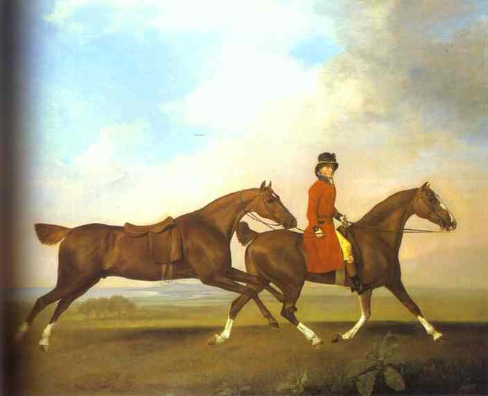 Oil painting:William Anderson with Two Saddled Horses. 1793