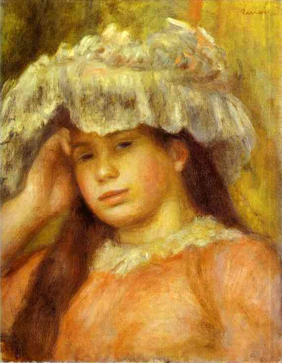 Oil painting:Young Woman Wearing a Hat (Jeune femme au chapeau). 1892