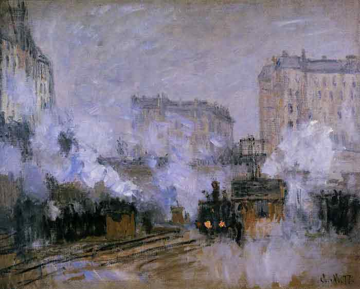 Oil painting for sale:Exterior of the Saint-Lazare Station, Arrival of a Train , 1877