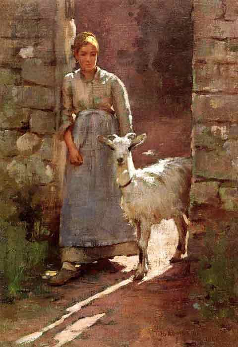 Oil painting for sale:Girl with Goat, 1886