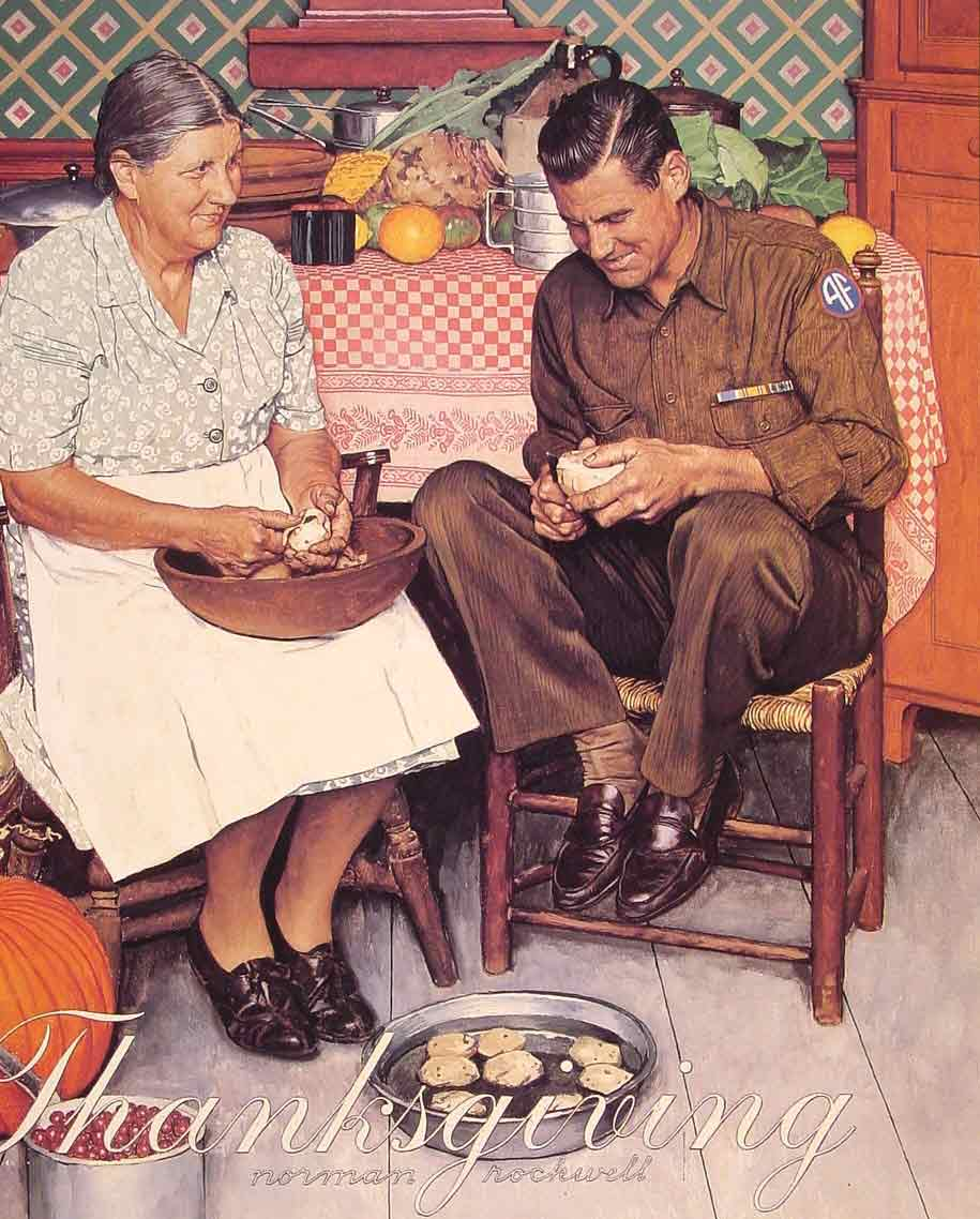 Thanksgiving Mother and Son Peeling Potatoes,1945