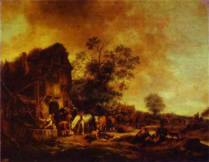 Oil painting:A Village Inn. 1646