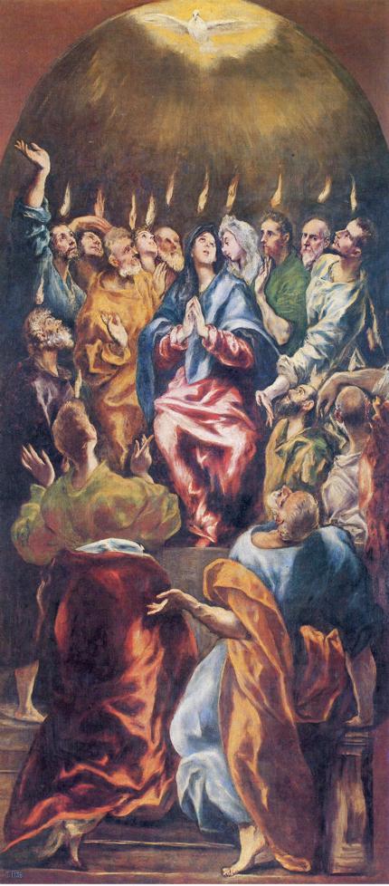 Oil painting:Pentecost. c.1600