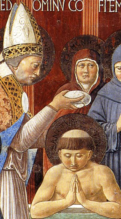 Oil painting:Baptism of St. Augustine. Detail.1464