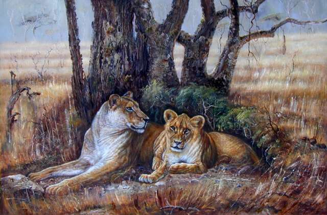 Oil painting for sale:lion-010