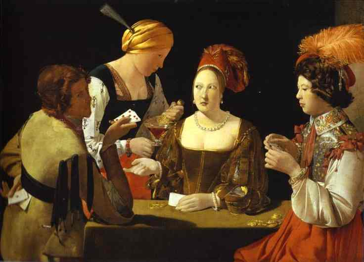Oil painting:The Card-Sharp with the Ace of Diamonds. c. 1636