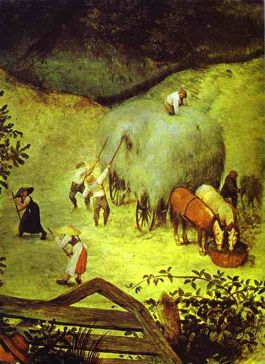 Oil painting:Haymaking (July). Detail. 1565