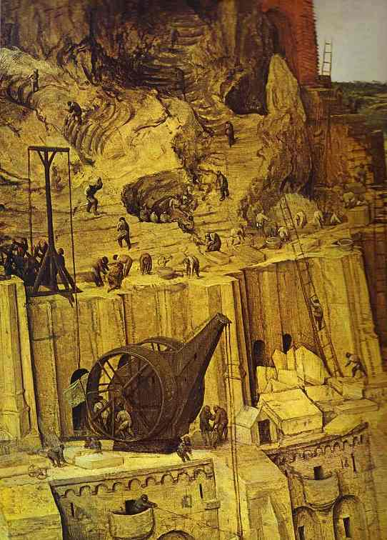 Oil painting:The Tower of Babel. Detail. 1563