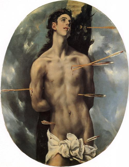 Oil painting:St. Sebastian. c. 1600