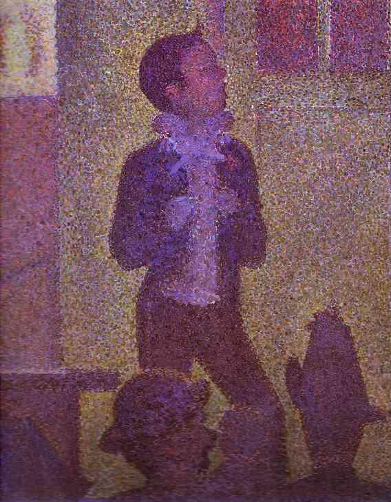 Oil painting:Invitation to the Sideshow (La Parade de Cirque). Detail. 1887