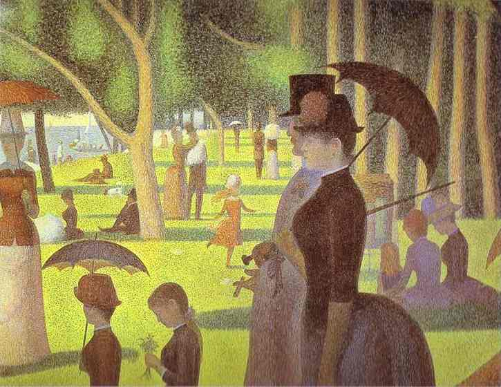 Oil painting:A Sunday on La Grande Jatte. Detail. 1884