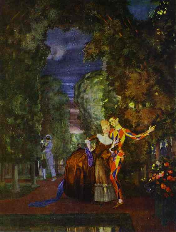 Oil painting:Lady and Harlequin. 1912