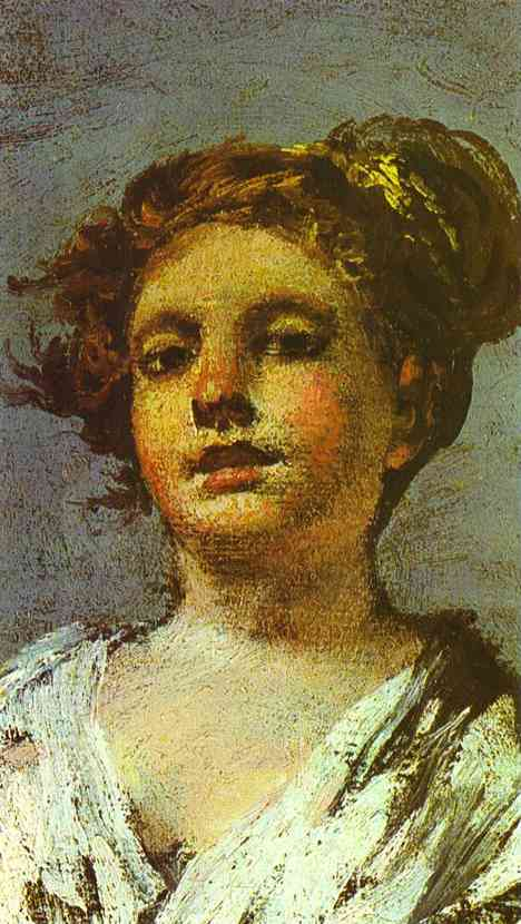 Oil painting:Girl with a Jug. (Aguadora).Detail.