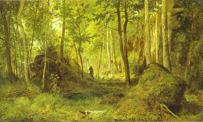 Oil painting:Landscape with a Hunter. Valaam Island. 1867