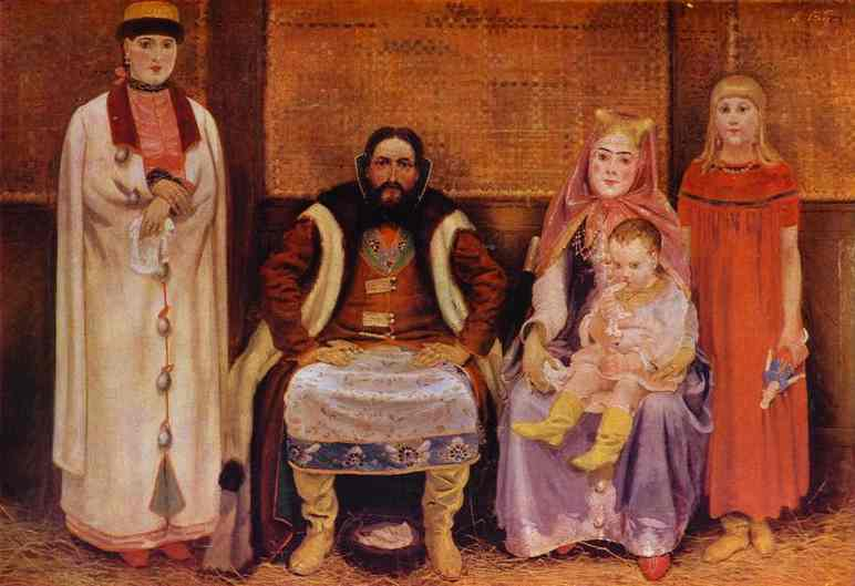 Oil painting:A Merchant Family in the XVII century. 1896