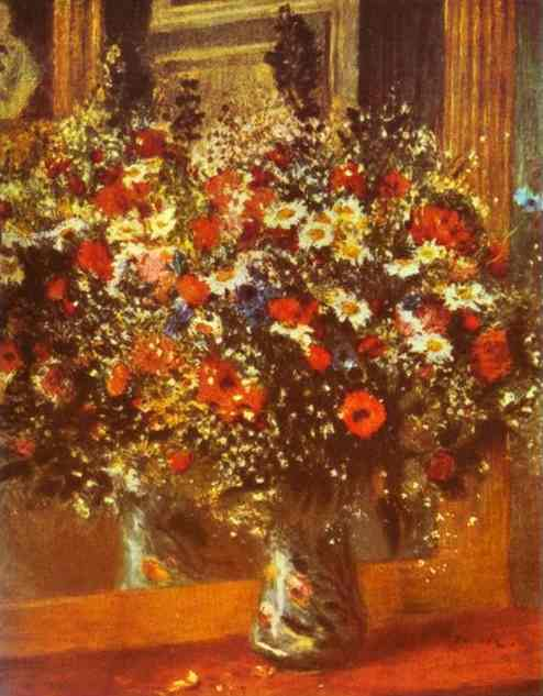 Oil painting:Bouquet in Front of a Mirror. 1876