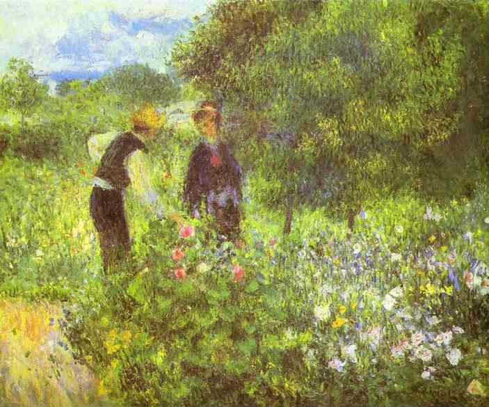 Oil painting:Conversation with the Gardener. c.1875