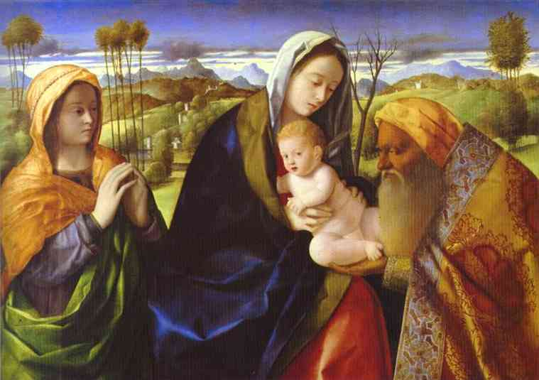 Oil painting:Infant Christ and Simeon. c. 1500