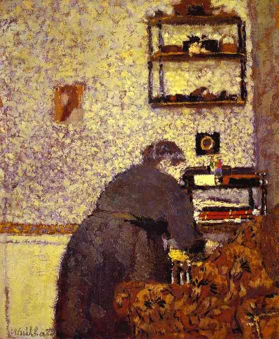 Oil painting:Old Woman in Interior/La vielle femme dans un int