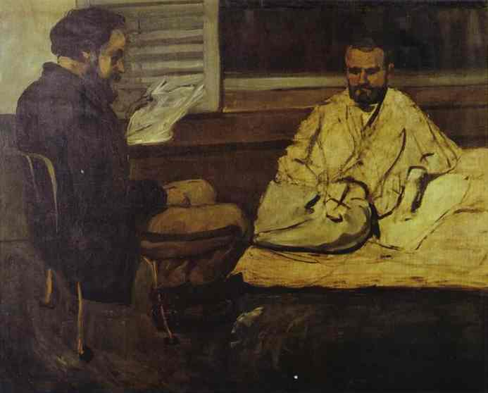 Oil painting:Paul Alexis Reading to Emile Zola. c. 1869