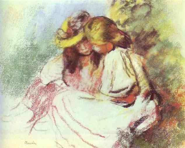 Oil painting:Reading Children. 1883