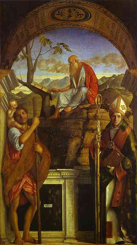 Oil painting:St. Christopher, St. Jerome, and St. Louis. 1513