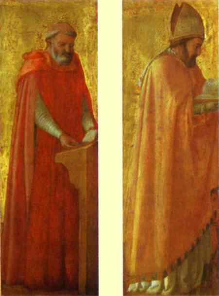 Oil painting:St. Jerome and St. Augustine. Panels from the Pisa Altar. 1426