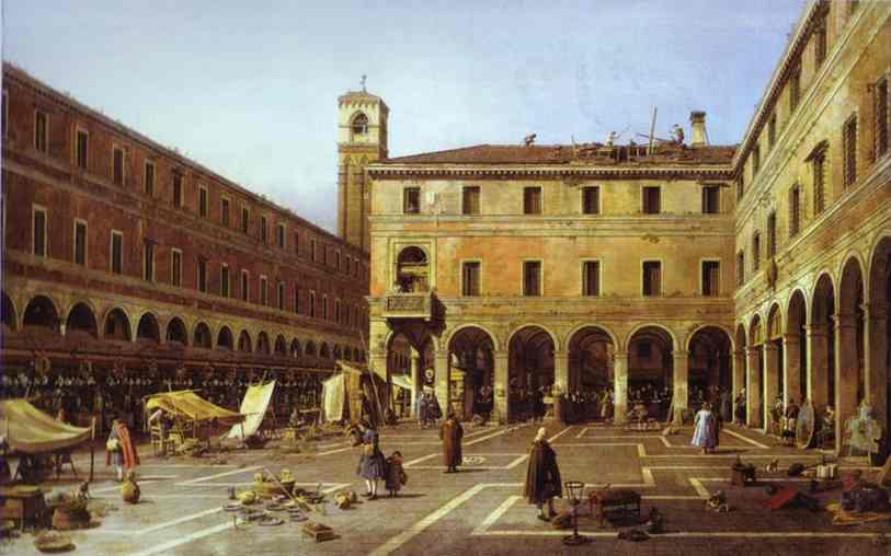 Oil painting:The Campo di Rialto. c. 1758