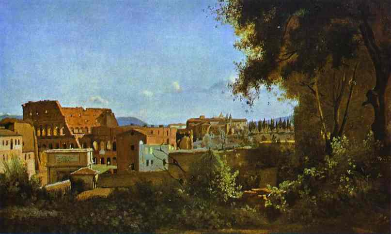 Oil painting:The Colosseum: View from the Farnese Gardens. 1826