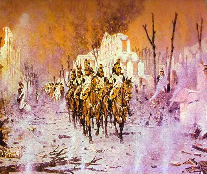 Oil painting:Vasily Vereshchagin. The Return from the Petroff Palace. 1895