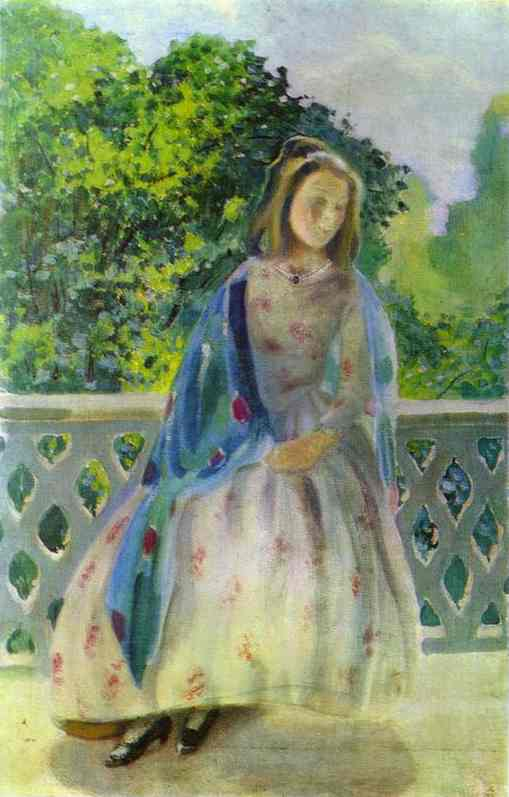 Oil painting:Young Girl on the Balcony. 1900