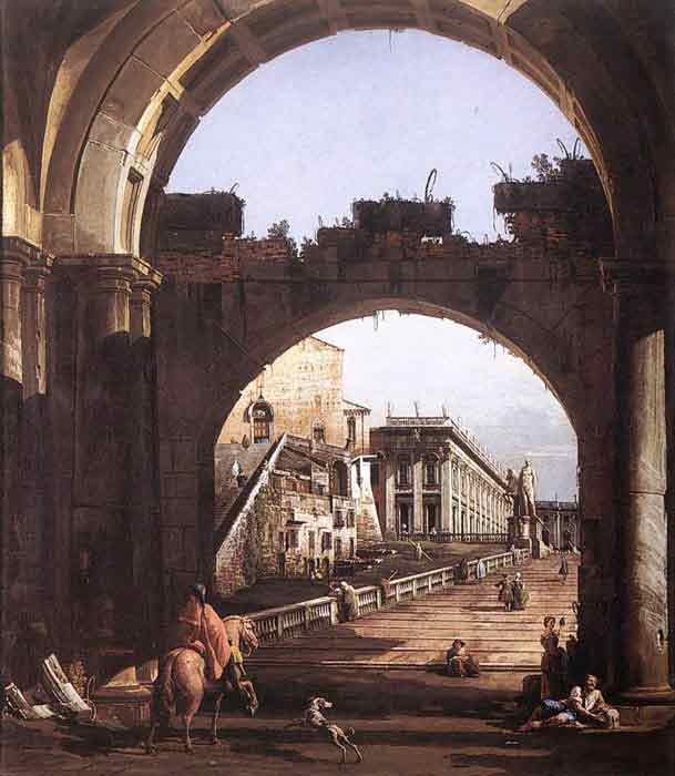 Oil painting for sale:Capriccio of the Capitol, 1743-1744