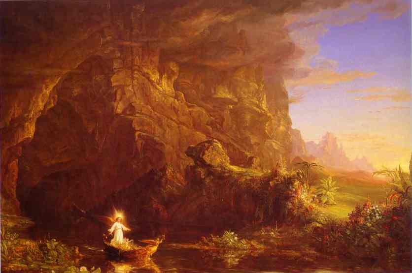 Oil painting:The Voyage of Life: Childhood. 1842