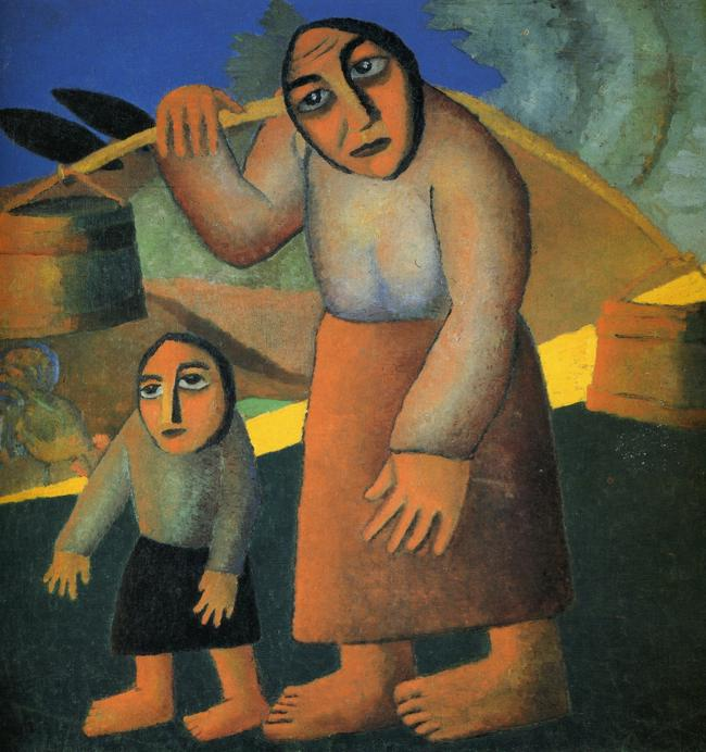 Oil painting:Peasant Woman with Buckets and a Child. 1912
