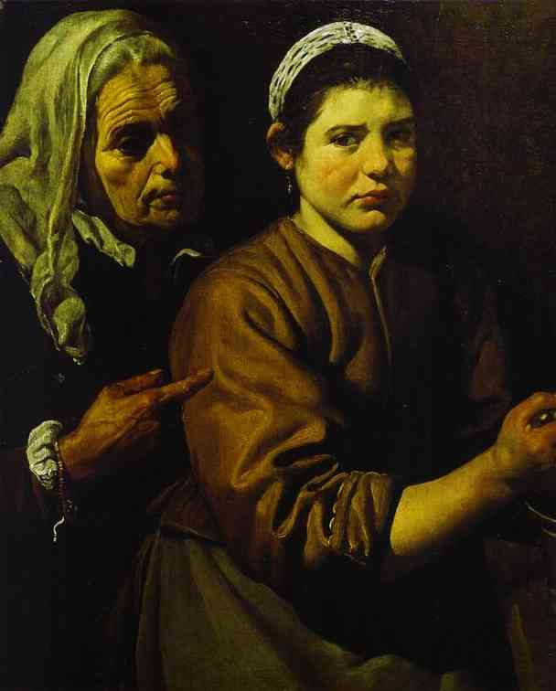 Oil painting:Christ in the House of Martha and Mary. Detail. 1618