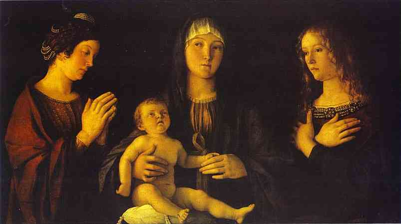 Oil painting:Virgin and Child between St. Catherine and St. Mary Magdalene. c. 1500