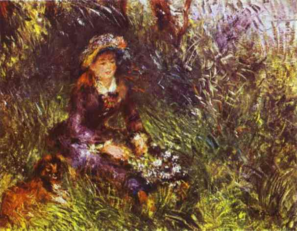 Oil painting:A Woman with A Dog (Portrait of Madame Renoir). 1880