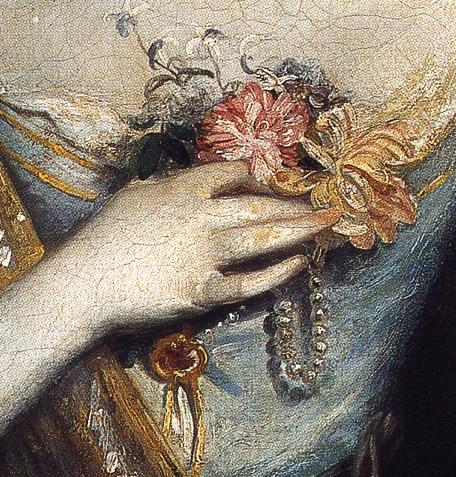Oil painting:Anne Dashwood. Detail. 1764